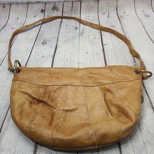 Vera Pelle Tan Slouchy Leather Hobo Bag Purse